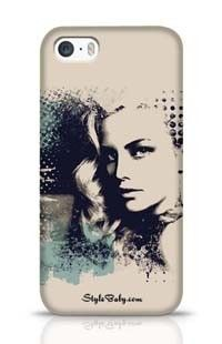 A Pretty Girl And Painted Blots Apple iPhone 5S Phone Case
