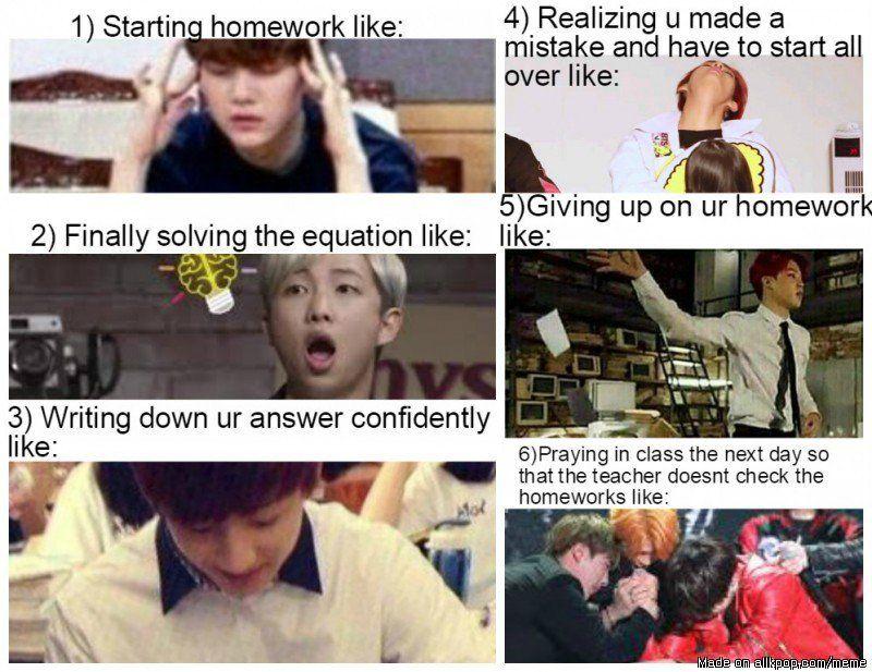 Funny Meme Kpop Bts And Exo : The way i do my homework homework bts and k pop