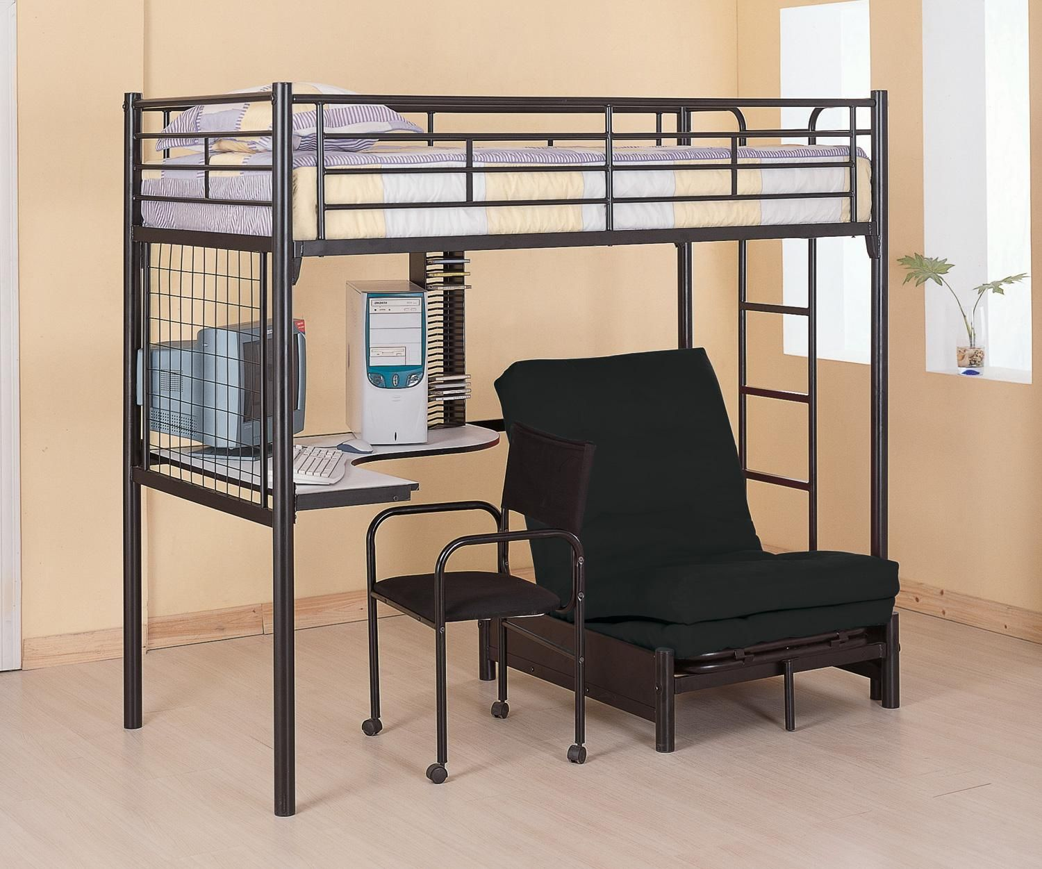 Wooden loft bed with desk  Twin Loft Bunk Bed Workstation wFuton Chair and Mattress Coaster