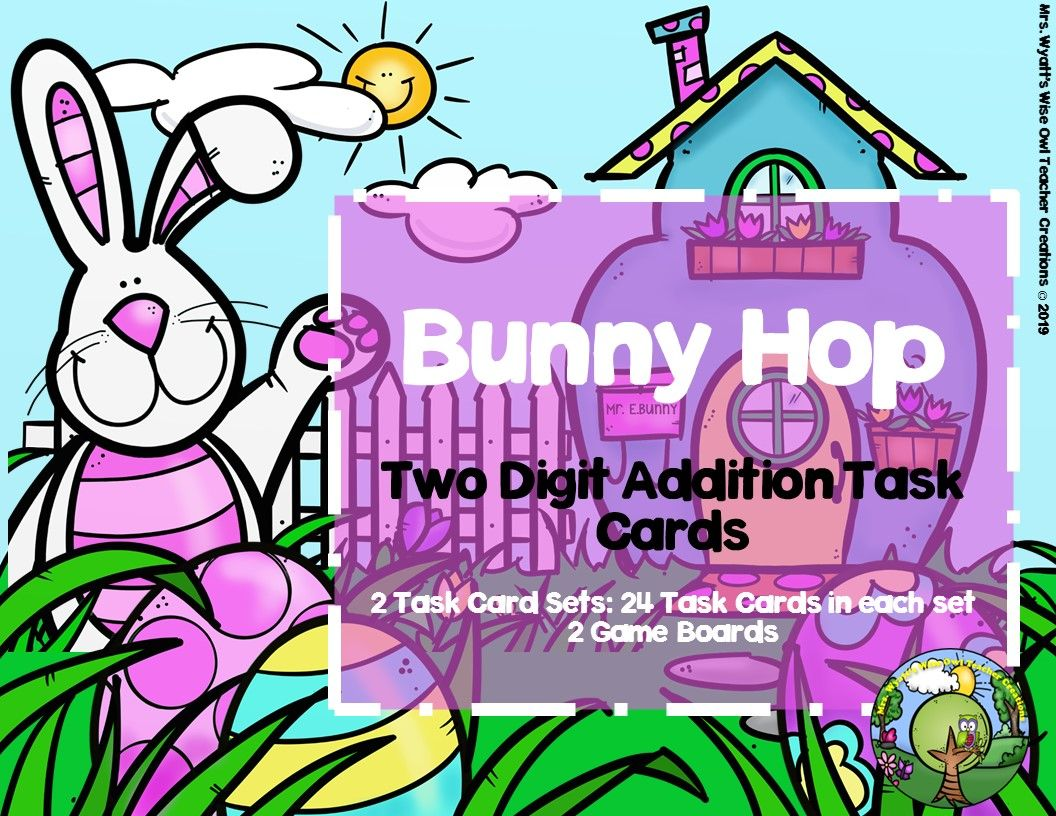 Bunny Hop Two Digit Addition Task Cards From Mrs Wyatt S
