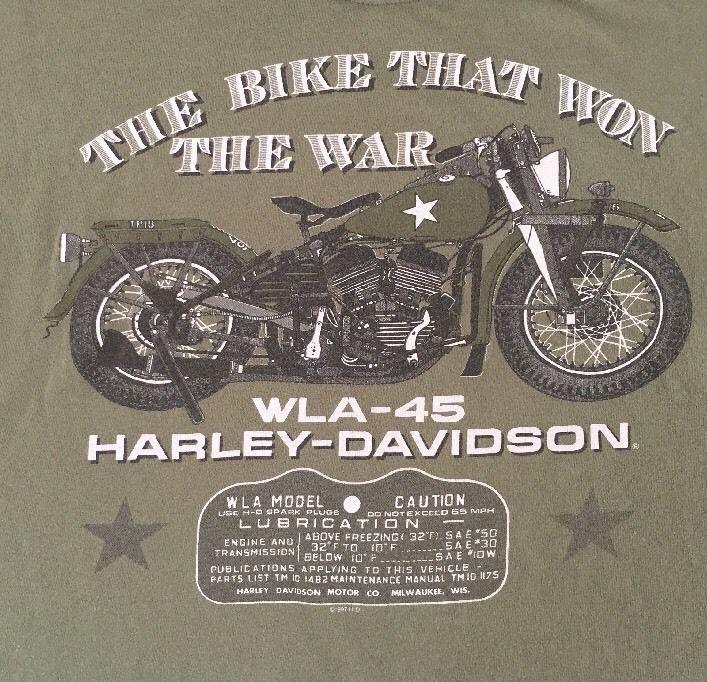 harley davidson xl t shirt wla 45 war bike won war honolulu pearl