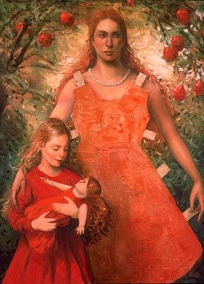 red - mother and child - figurative painting - Katherine Ace - all dressed up