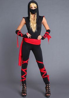 25 effortlessly frugal last minute halloween costumes the ninja costume requires black clothing and red cloth or a red t shirt cut the cloth into strips and tie the pieces of fabric to your wrists ankles solutioingenieria Images
