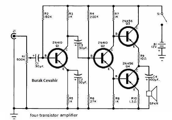 6 watt four transistor amplifier 2n456