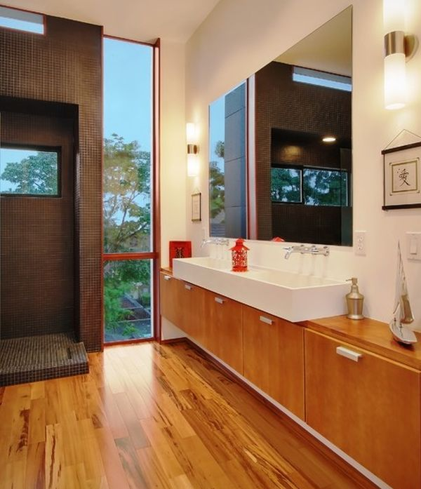 elaborate sink cabinet design clad in wood plus open shower - Cabinet Designs For Bathrooms