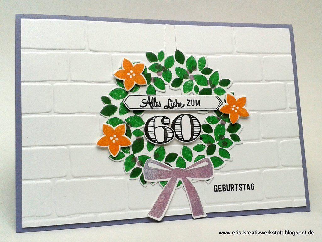 #Glückwunschkarte mit buntem Herbstkranz zum 60. #Geburtstag   http://eris-kreativwerkstatt.blogspot.de/2016/10/gluckwunschkarte-mit-buntem-herbstkranz.html  #stampinup #teamstampingart #karte #herbst