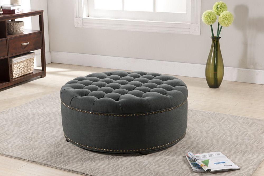 Iglehart Gray Linen Modern Tufted Ottoman | Affordable Modern ...