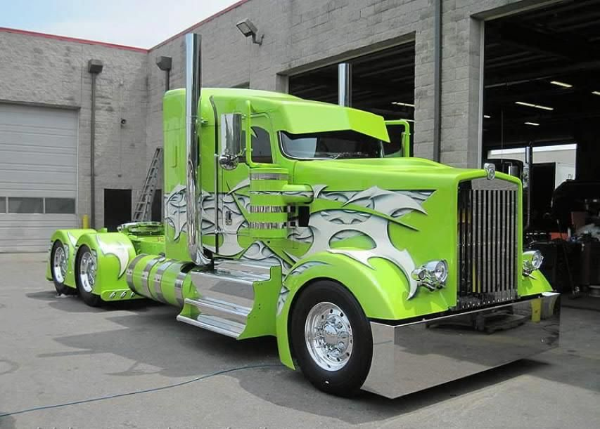 Lime Green K Whopper One Fine Custom Semi Truck