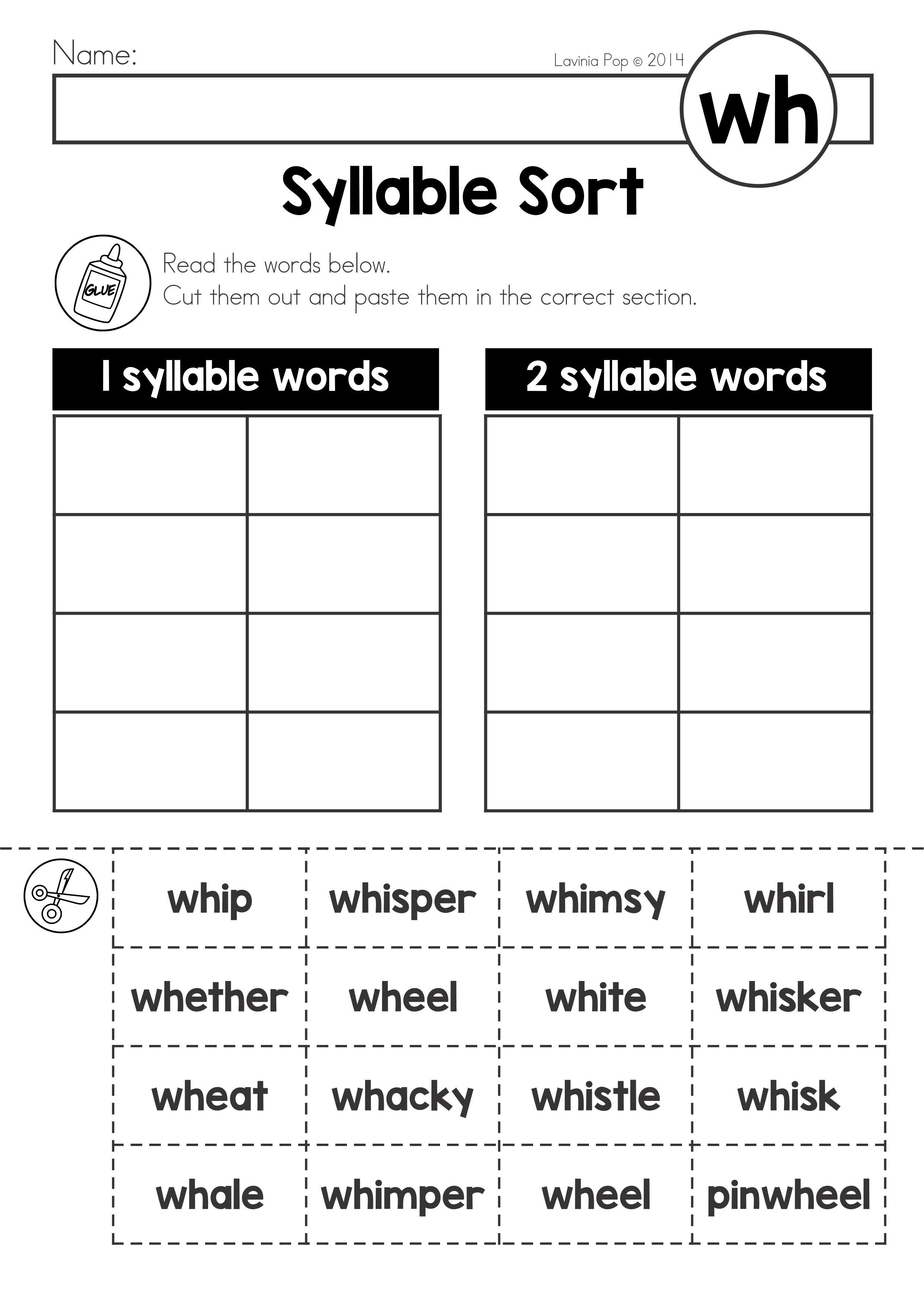 FREE Digraph WH: Phonics Word Work {Multiple Phonograms ...