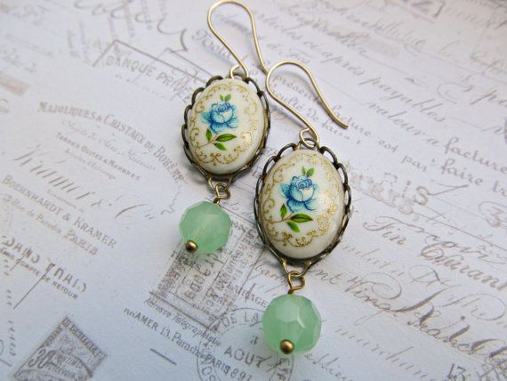 Vintage Porcelain Cameo earrings Blue Rose by HappyTearsbyMicah, $15.00