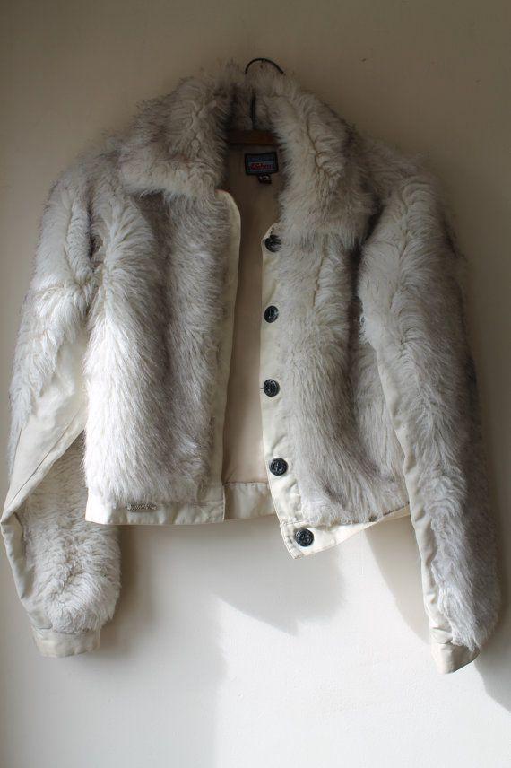 c4b5666c4a Vintage Hooch White Faux Fur Bomber Jacket 1990 s by ShellysRelics ...