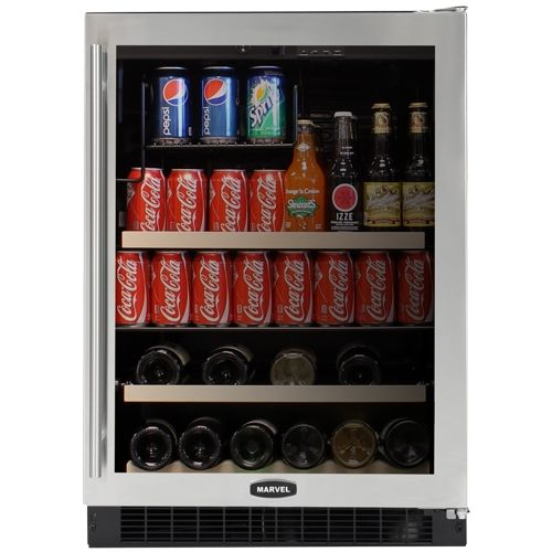 "Marvel Beverage and Wine Refrigerator 24"" Wide Black"