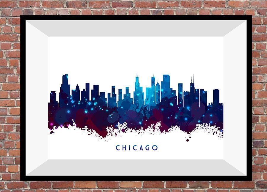 Chicago City Skyline Night Watercolor Print Art Wall Decor Christmas Anniversary Gift Living Room N132