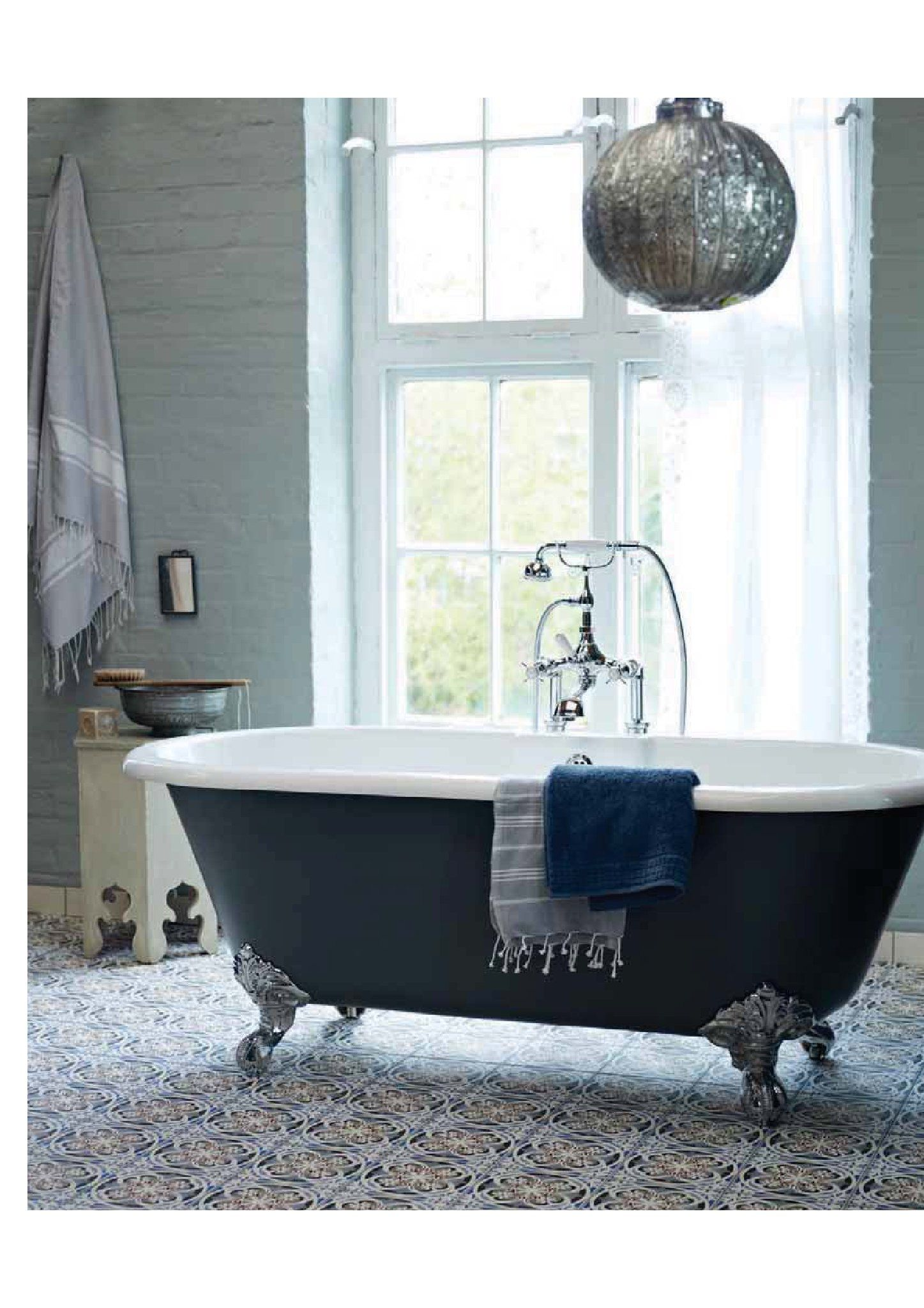 Painted Roll Top Bath Country Style Bathrooms Bathroom Floor