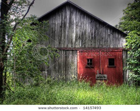 picturesque, gray barn, red doors