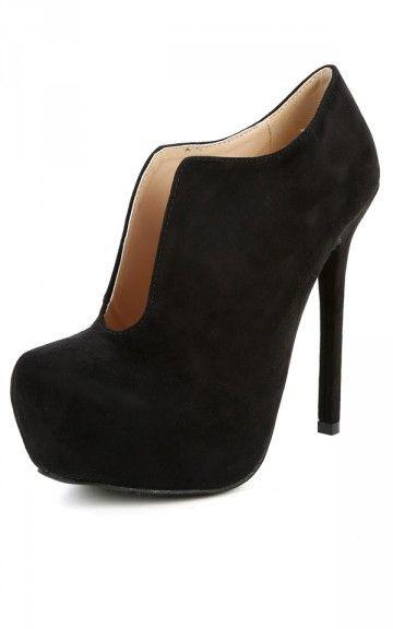 Qupid Miriam-95 Almond Toe Ankle Booties BLACK