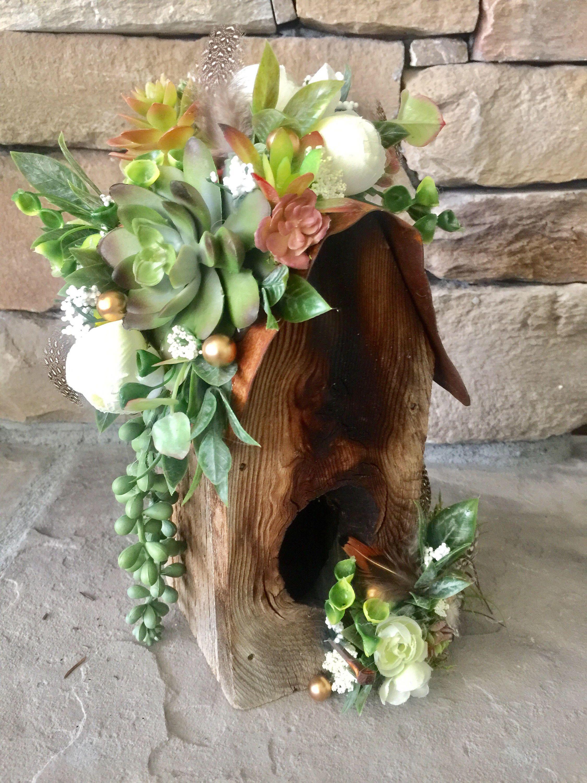 Rustic Birdhouse with Succulents/barnwood Wedding birdhouse ...