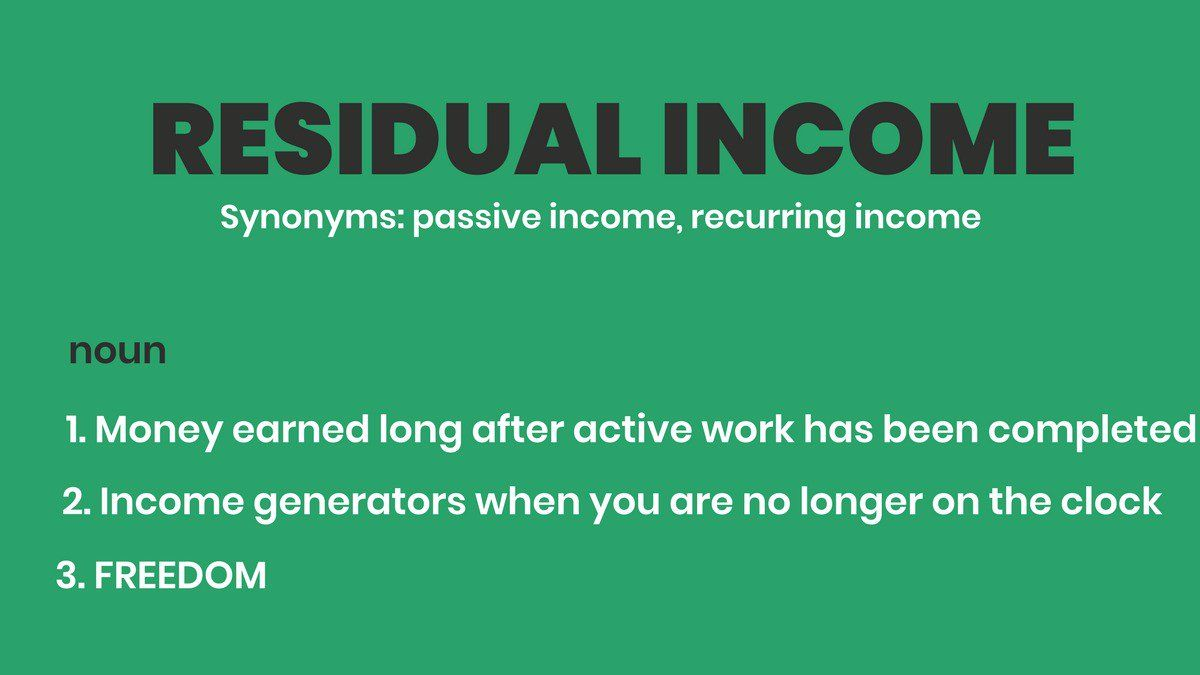 Get Started Making Residual Income: Make More By Doing Less | Show ...
