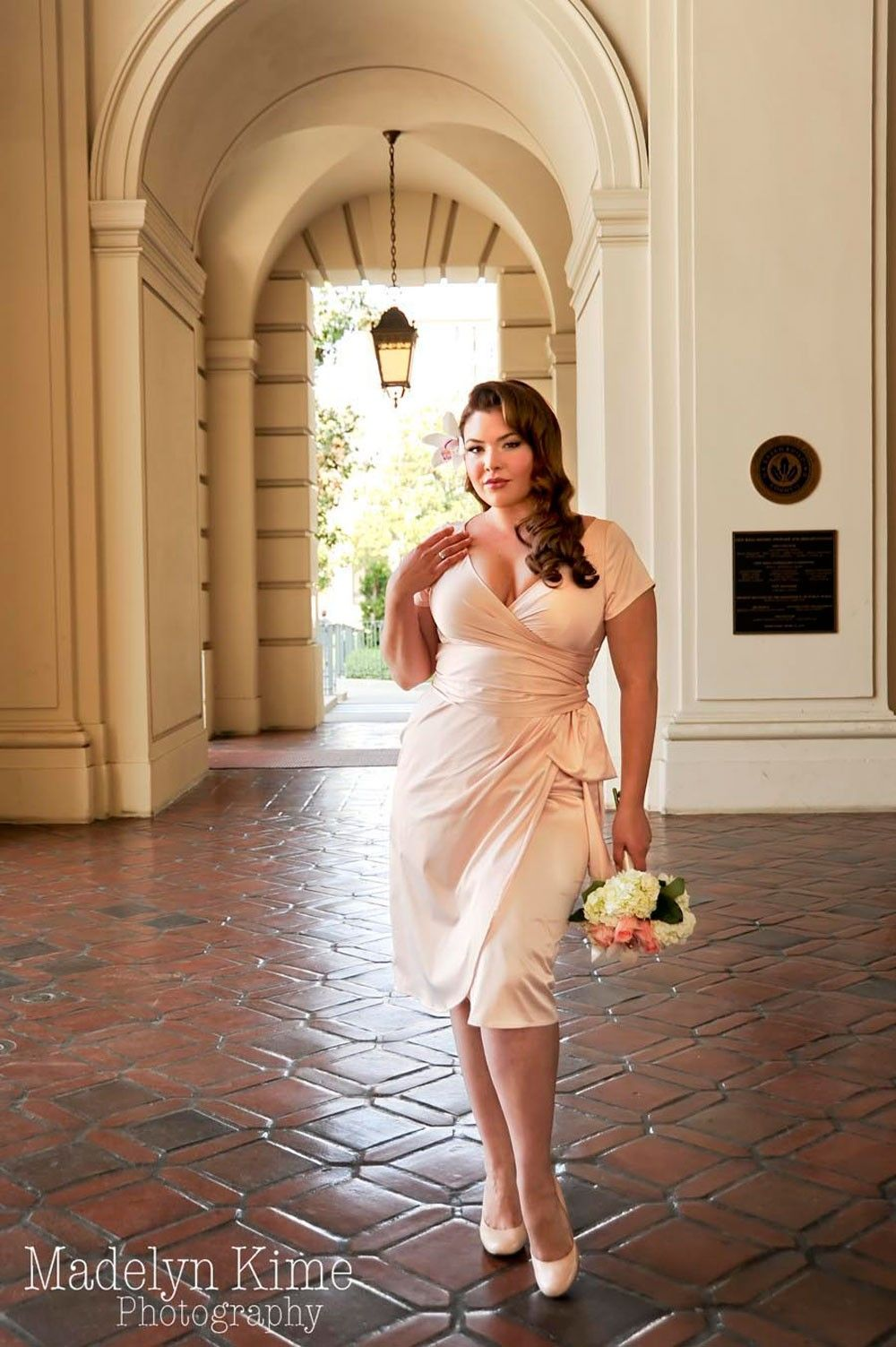 Plus size pin up style wedding dress  For engagement party or rehearsal dinner Ava Dress in Blush