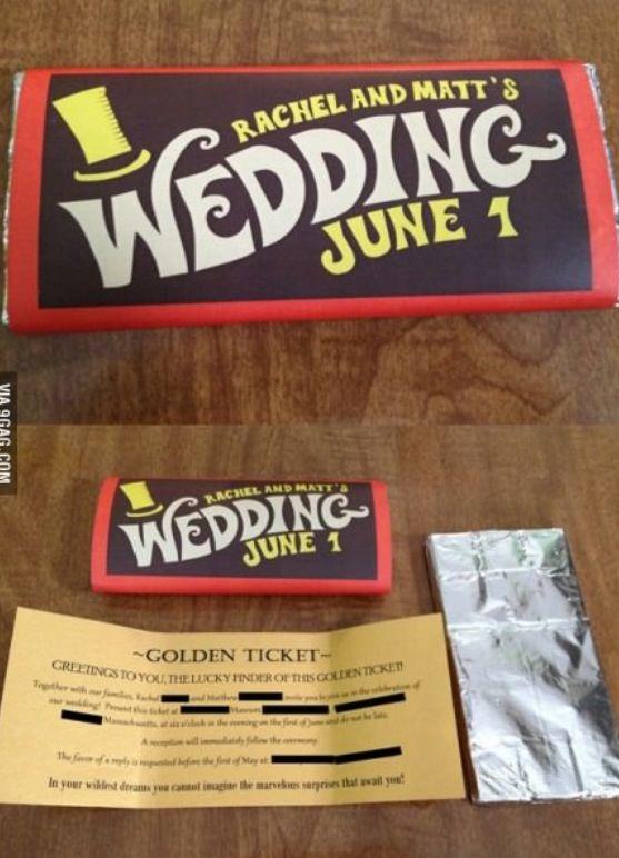 Creative Willy Wonka Golden Ticket Wedding Invitations
