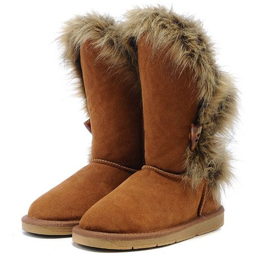 Canada Womens UGG Fox Fur Sheepskin Short Boots 5531 Chestnut [usa231]Clearance