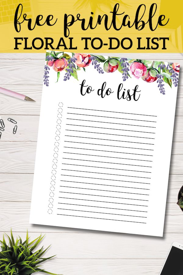 Floral To Do List Printable Template | To do lists ...