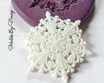 Large Lacy Snowflake Mold,Frozen Inspired Molds, Fondant Molds, Jewelry Molds, Polymer Clay Molds, Resin Molds, Winter Molds, Food Safe