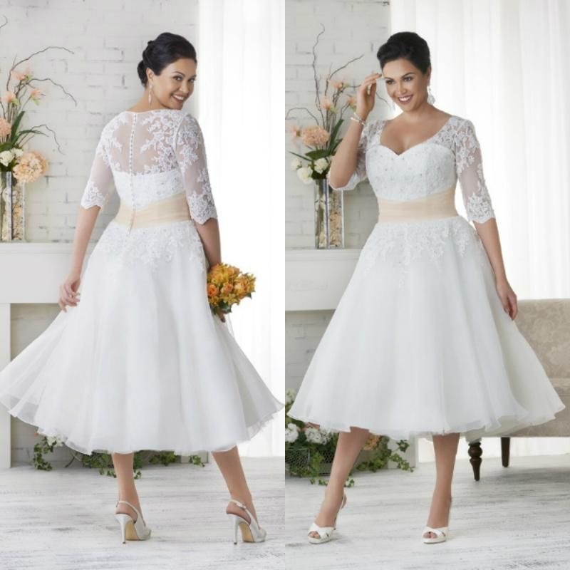 Discount Elegant Plus Size Wedding Dresses A Line Short Tea Length Lace Applique Bridal Gowns With Seeves Sn164 Simple Vintage Wedding Dresses Trendy Wedding Dr Plus Size Wedding Dresses With Sleeves