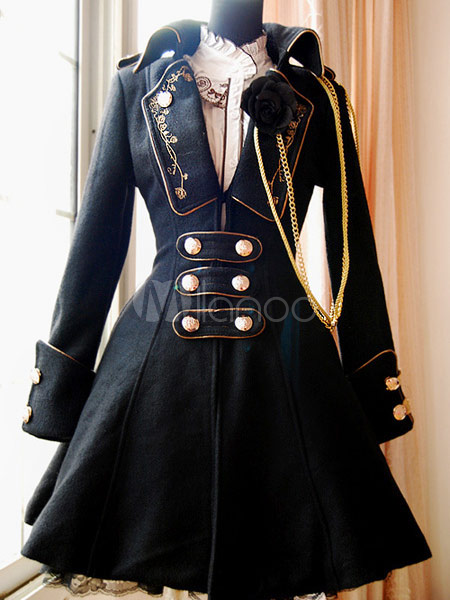 [105,48€] Manteau lolita noir en laine manches longues avec chaîne