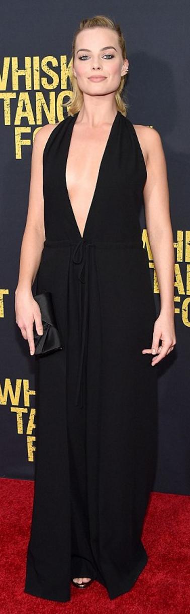 Who made Margot Robbie's black jumpsuit?