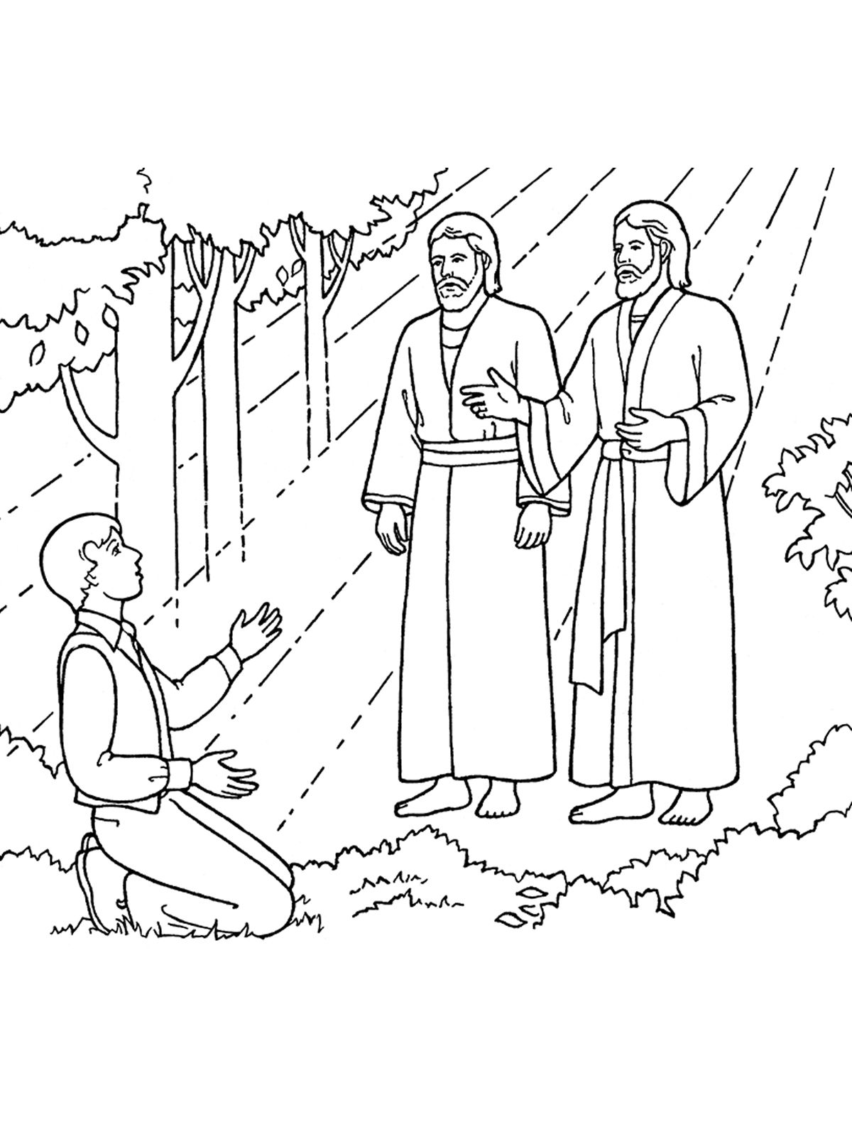 An Illustration Of Joseph Smith Seeing Heavenly Father And Jesus Christ From The Nursery Manual Behold Your Little Ones 2008 Page 91