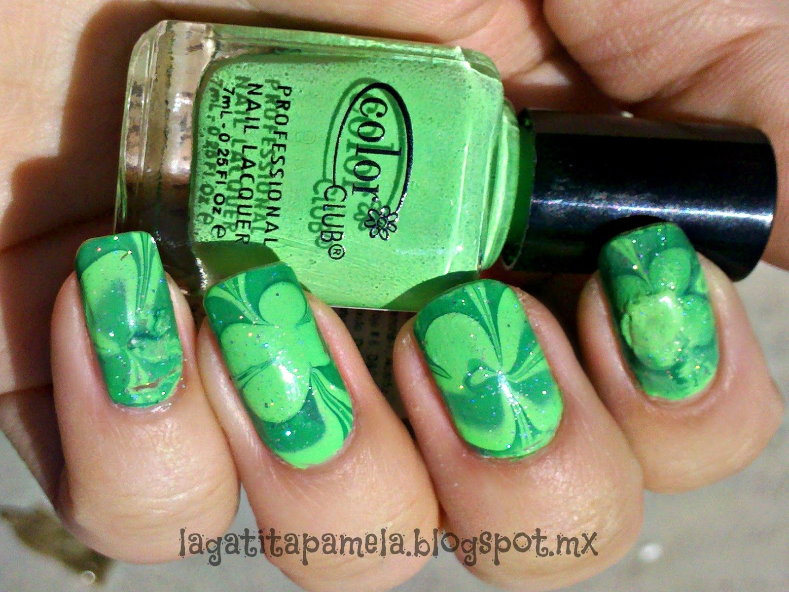 Pamela\'s Nails: St. Patrick\'s Day Water marble nails-Marmoleado en ...