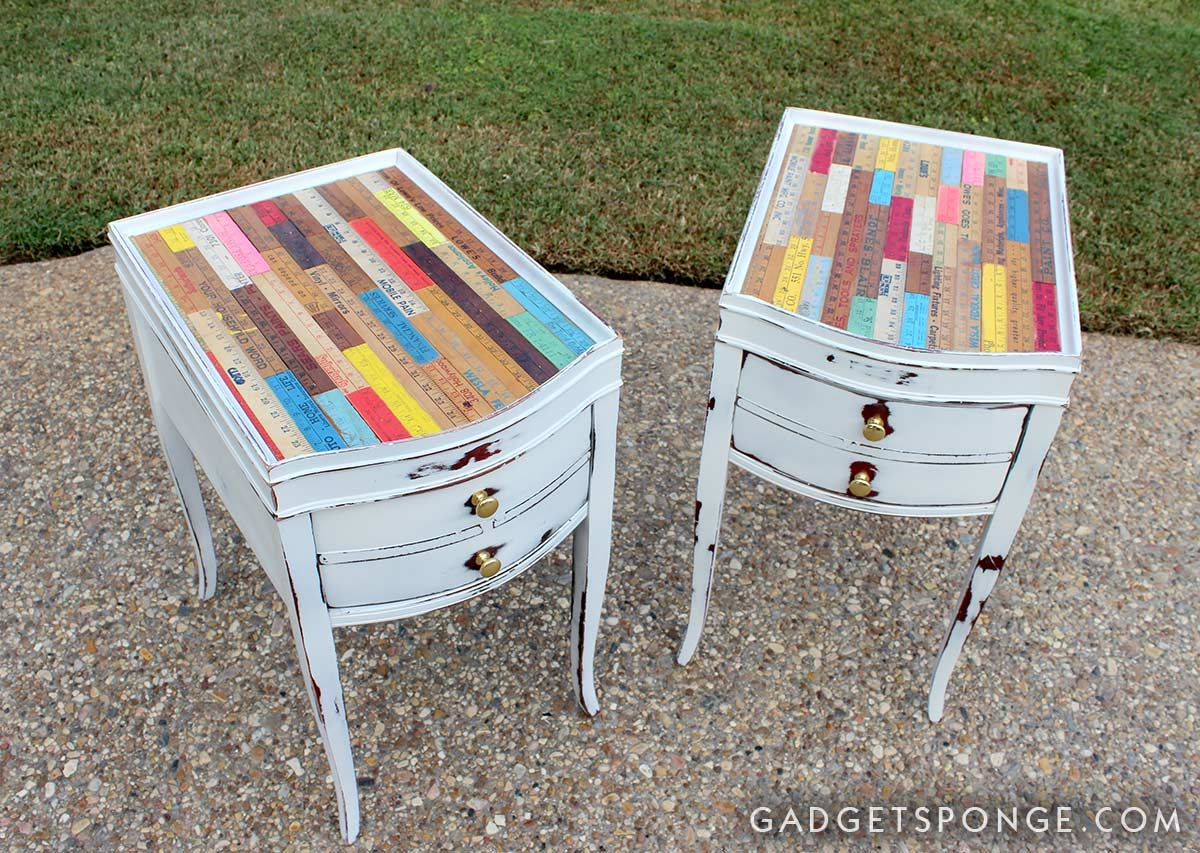 Folding Chair Upcycle Covers Wedding Bows Custom Upcycled Vintage Yardstick Twin Side Tables By