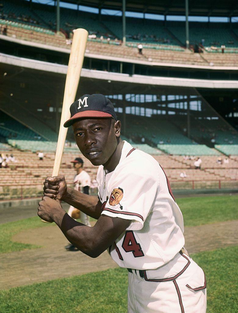 Hank Aaron In A Batting Pose Wearing A Milwaukee Braves Uniform Hank Aaron Braves Baseball
