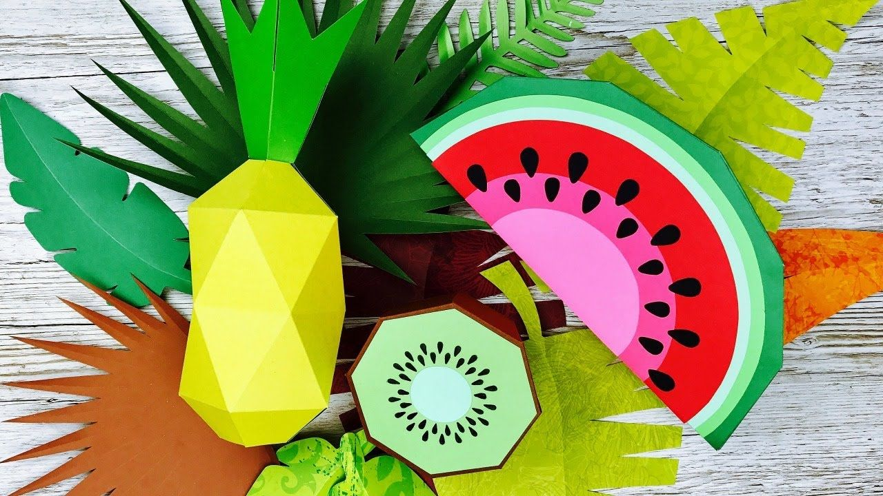 Frutas tropicales 3d sandia c mo hacer frutas de papel - Manualidades de papel reciclado ...