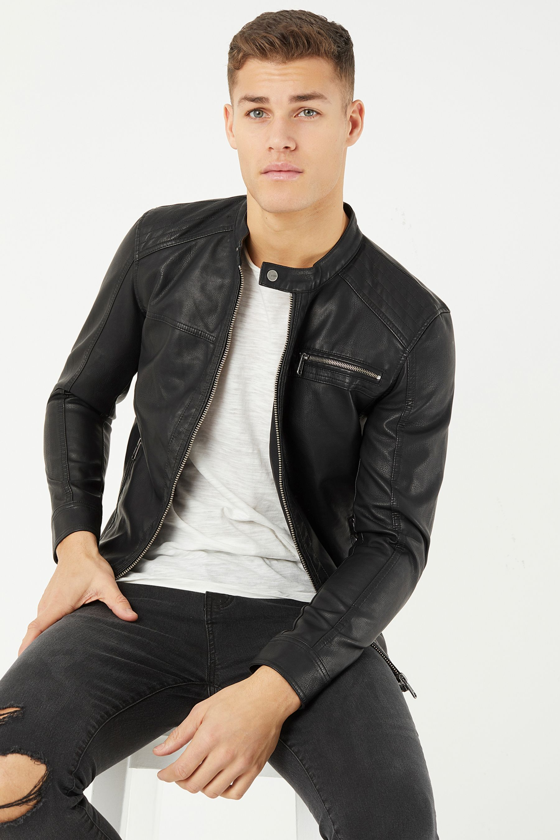 Mens Only & Sons Faux Leather Jacket Black Faux