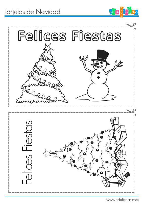 Dibujos Para Tarjetas De Navidad Para Ninos.Tarjetas Navidenas Para Imprimir Dibujos Para Colorear