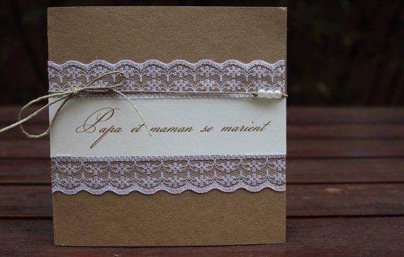 Faire-part dentelle et kraft 3 gamme |mariage champêtre chic|