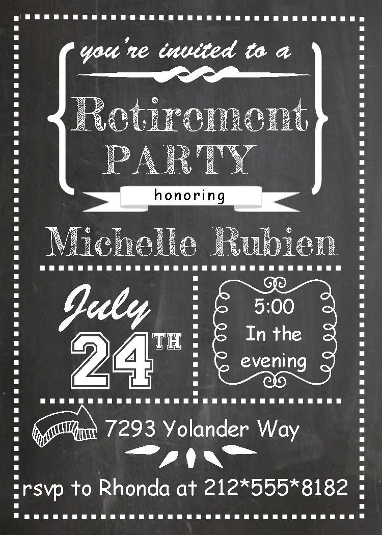 Retirement Dinner Party Ideas Part - 35: Chalk Board Teacher Retirement Invitations
