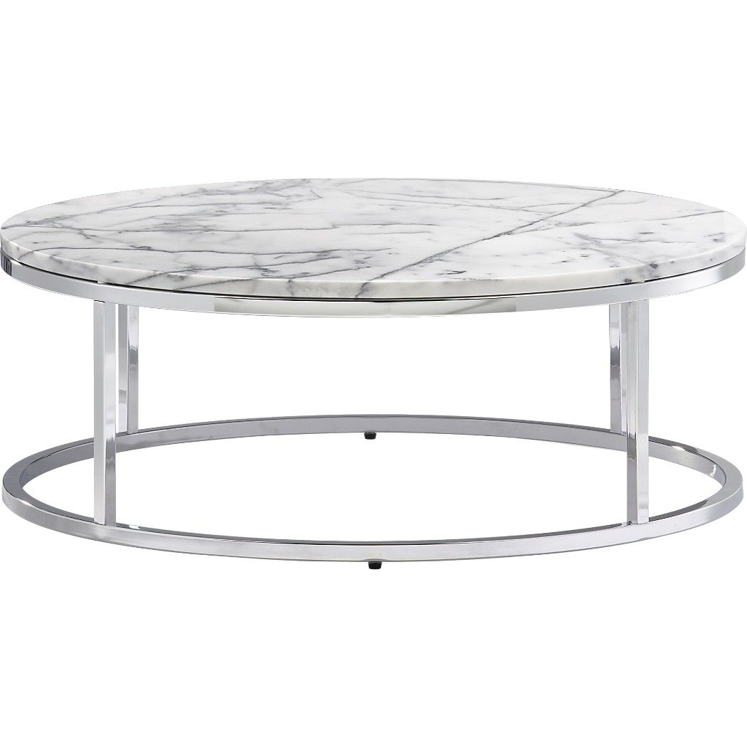 Shop smart round marble top coffee table open cylinder shop smart round marble top coffee table open cylinder construction of slick polished chrome tops geotapseo Image collections