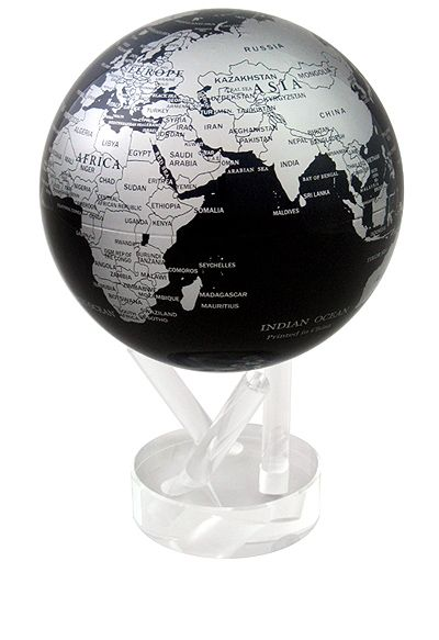 Silver & Black MOVA Globe. This modern take on the globe will add class and sophistication to any room. MG-45-SBE #movaglobe #homedecor #office #corporategift http://turtletechdesign.com/4-5-mova-globes.html#prettyPhoto[gallery2]/10/
