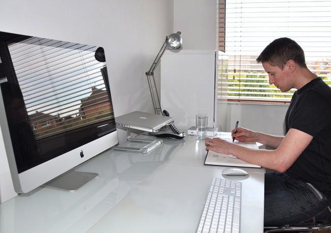 Graphic Design Home Office. Closeup Of Freelance Graphic Designer ...