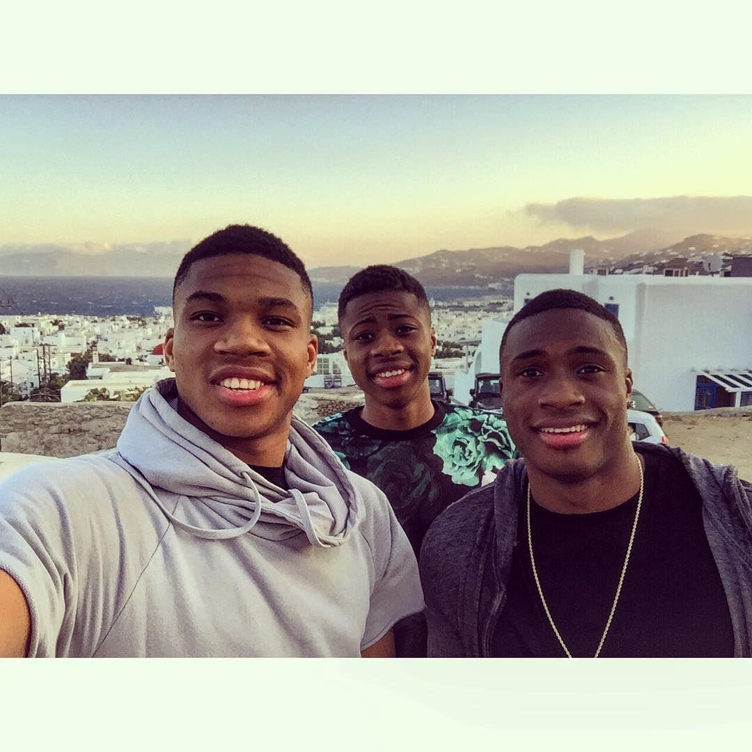 Three Antetokounmpo brothers One selfie #Mykonos Thanasis ...