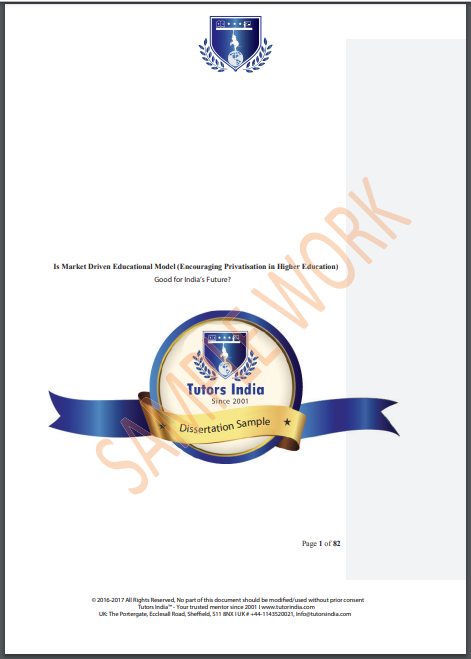 Sample Work Of A Written Dissertation Proposal Tutor Education On In India