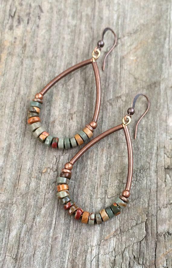 Boho earrings, boho earrings, stone jewelry, earthy jewelry, copper ...