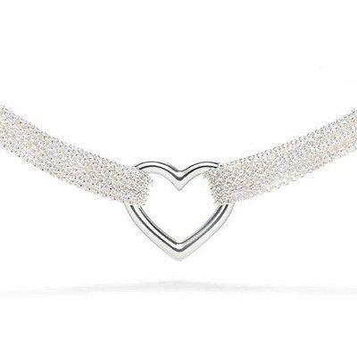 Tiffany Ten Row Heart Toggle Silver Necklace