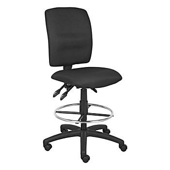 Boss Fabric Drafting Stool Blackchrome Overall Dimensions X 35 Upholstered In Black Crepe For Comfort At Office Depot Officemax