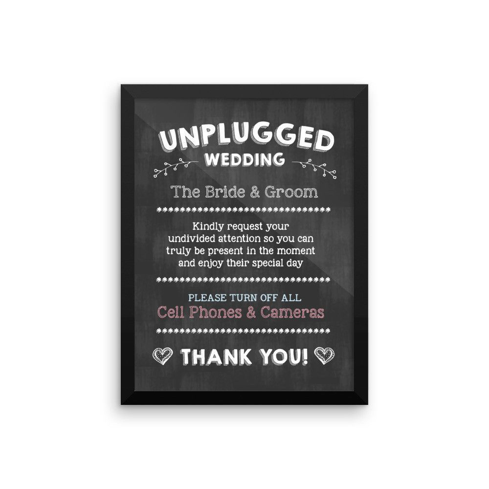 """""""Unplugged Wedding"""" Framed Photo Paper Poster"""