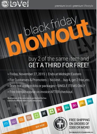 You+2 friends can save $50 each on your ThriveExperience by buying together & have FREE Shipping Extended Black Friday Sale!! Big Blowout!!! Le-Vel Thrive!!! Now is the time to join me!  Buy 2 get 1 Free!!! ☺☺    sarahw42.le-vel.com/experience