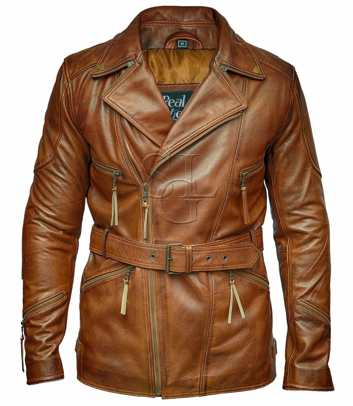 Mens 3/4 Motorcycle Biker Brown Distressed Vintage Leather Jacket | eBay